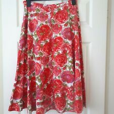 Laura Ashley Midi Skirt UK 12-14 Floral Rose Arty Cotton Summer Holiday