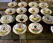 """15 Vintage Hand Painted 9"""" Italian Plates each Slightly Different Can Be Hung"""