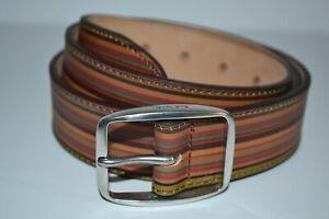 "Paul Smith Mens Vintage Stripe Leather Belt 36"" Brand New"