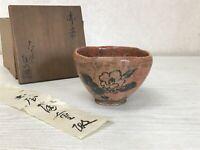 Y1463 CHAWAN Raku-ware Red signed box Japanese bowl pottery Japan tea ceremony