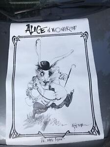 Ralph Steadman The White Rabbit Alice In Wonderland Poster 2008