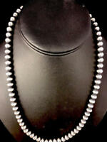 "Native American Navajo Pearls 5mm Sterling Silver Bead Necklace 16""-32""   S429"