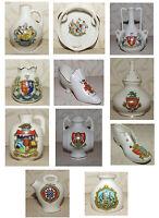 Crested ware Various Jugs Vases Shoe Tamborine Pomander Barrel