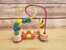 Melissa & Doug First Bead Maze Wooden Toy Fine Motor Skills Suction Cup 8x8x4""