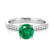 Natural Round 2.18 Ct Emerald Gemstone Rings White Gold Finish Silver Size M N P