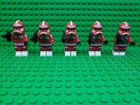Custom Lego Star Wars Minifigures Red Clone Trooper Lot of 5 + Blasters