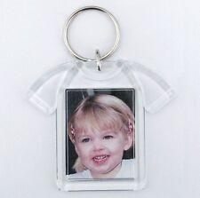 100x Blank T-Shirt Shape Acrylic Keyrings 41x30mm Photo key ring plastic D1217