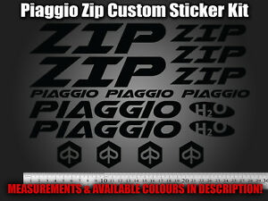 Piaggio Zip Custom Decals/Stickers in ALL COLOURS 50 70 125 172 180 183