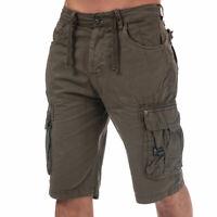Mens Crosshatch Black Label Chaseforth Cargo Shorts In Khaki- Button Fastening-