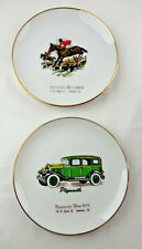 Plymouth Car & Horses Advertising Plate Set of 2 Singleton Shoes Lancaster PA