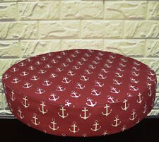 AL264r Pale Beige on Dark Red Anchor Cotton Canvas 3D Round Seat Cushion Cover
