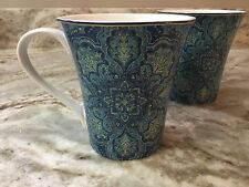 222 Fifth Coffee Mug Set. Augustina Opulent Blue. Porcelain. Beautiful. New.