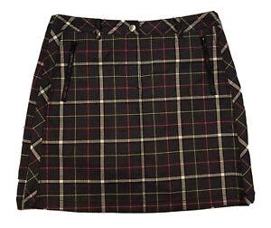 NEW!! N'Vo by Lanctot Active Golf Skort Skirt  Women 6 Black/Gray/Pink Plaid