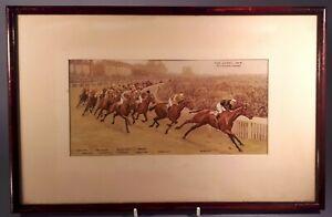 Antique 1920s F&G Colour Print. Horse Racing. 1924 Epsom Derby. Tattenham Corner