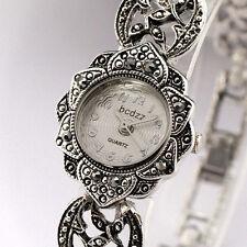 Vintage Tibetan Silver Women Quartz Movement Cuff Sunflower Bracelet Wrist Watch