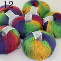 AIP Soft Cashmere Wool Colorful Rainbow Shawl DIY Hand Knitting Yarn 50grx6 12