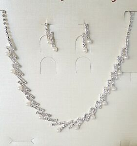 Wedding Party Pearls Silver Necklace and Earrings Sets Crystal Rhinestones