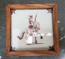 VTG ANTIQUE DUTCH DELFT MANGANESE POTTERY TILE SOLDIER ON HORSE 19TH C. FRAMED
