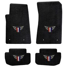 NEW! BLACK FLOOR MATS 2010-2015 Camaro Embroidered Red White Blue Crest Logo All