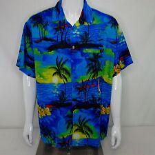 4b74ede5 Rima Aloha Hawaiian Shirt Men's Short Sleeve Size XL Blue Yellow Islands C32
