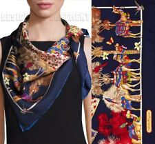 SALVATORE FERRAGAMO navy SILK ROAD colorful CAMELS & BIRDS scarf NIB Authen $380