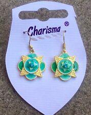 Green Flower & Gem Earrings Beach Hippy Party Clubbing Summer Gift J372