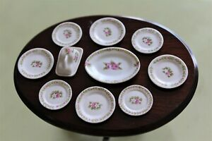 VINTAGE PART FINE CHINA ROSE DINNER SERVICE BY AVON MINIATURES FROM THE UK 1:12