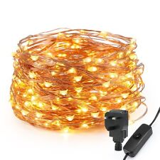 200 Indoor Outdoor LED Christmas, Wedding Fairy Lights Warm White Copper Cable