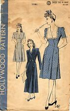 "1930s Vintage Hollywood Pattern Women's DRESS COAT OR ROBE 1191 Sz 14 B32"" FF"