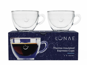 Espresso Glass Cups, Double Walled Coffee Glasses, Set of 2 x 80ml by Lunae