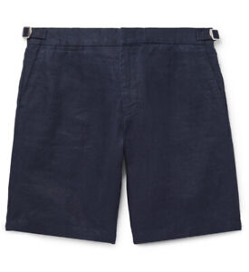 ORLEBAR BROWN Navy Blue Norwich Cotton Tailored Fit Shorts Sz 38 NWT $250