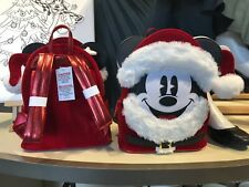 DISNEY Loungefly Christmas SANTA MICKEY MOUSE Mini Backpack Bag Purse