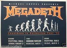 "MEGADETH ""COUNTDOWN TO EXTINCTION TOUR '93"" AUSTRALIA CONCERT SILK-SCREEN POSTER"