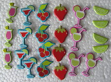 Lot of 72 Brads - Coctail Drinks Fruit Strawberry Lime Cherry -Buy 2 Get 1 Free