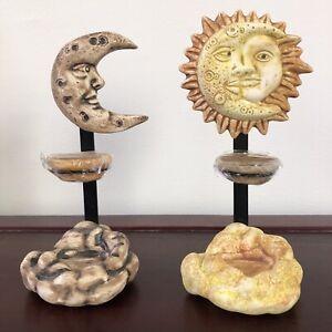 "Set Of 2 Sun & Moon Ceramic Metal Set Candle Holder Tea Light Candle 9.5""Tall"