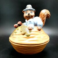Vintage Ceramic Thanksgiving Pilgrim Dressed as a Squirrel on Nut Dish