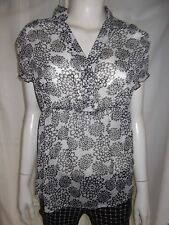 TEMT Womens short sleeve Black & White sheer top size 14