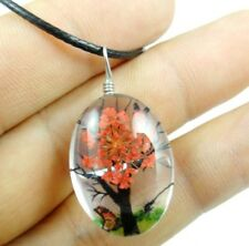 Fashion Crystal Glass Dried Flower Lucky Tree Egg beads Pendant necklace 14Z2