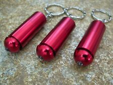 3 New LED Keychain Mini Red Flashlights Front Push On And Off