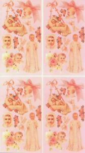 Victorian Baby Stickers - Pretty in Pink -Set of 2 Strips/4 Sections/40 Stickers