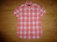 Women's Gant Multi Check Short Sleeve Button Down Collar Cotton Shirt Top M 12
