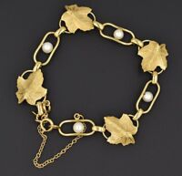 Vintage WELLS 14k Gold Filled Intricate Leaf Shaped Pearl Link Bracelet 7""