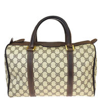 Authentic GUCCI GG Logos Pattern Travel Hand Bag PVC Leather Brown Italy 65BQ198