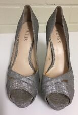 Guess silver glitter stiletto heel platform open toe pumps sandals 37.5cm Size 7