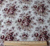 """Antique French Old Roses & Picotage Cotton Chintz Fabric~L-29"""" X W-31"""""""