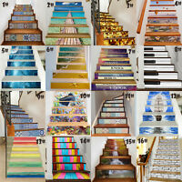 6Pcs 3D Selfadhesive Staircase Stair Riser Floor Sticker DIY Wall Decal Fashion