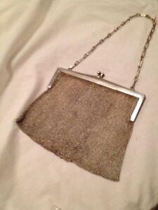 Vintage European Silver Mesh Evening Bag