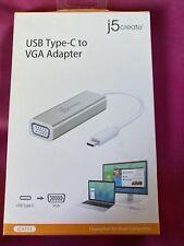 j5create JCA111 USB Type-C to VGA Adapter Silver NEW