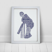 Personalised Word Art Cricketer Cricket Fan Player Print Birthday Frame