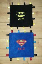 30CM PERSONALISED BATMAN / SUPERMAN BABY TAGGY BLANKET COMFORT COMFORTER GIFT